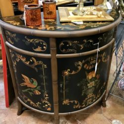 Asian ½ Round Entry Table with Bamboo Detail