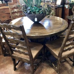 Rustic Dining Table with 6 Rush Seat Chairs
