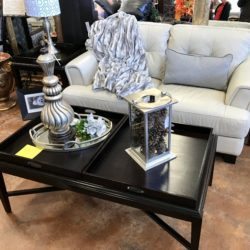 Faux Cream Love Seat & Coffee Table with Removable Trays