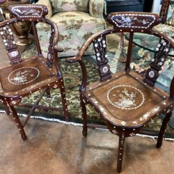 Vintage Rosewood Chairs with Mother of Pearl Inlay