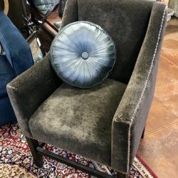 Brown Velvet Nailhead Accent Chair