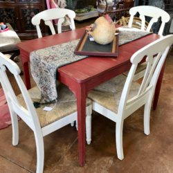 Red Distressed Table with Farm House Chairs (sold separately)