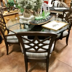 Glass Octagonal Dining Table with 5 Chairs