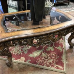 Carved Wood & Glass Coffee Table