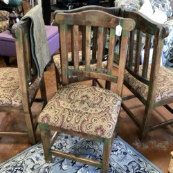Set of 6 Rustic Solid Wood Dining Chairs