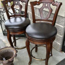 Set of 2 Faux Leather Swivel Bar Stools