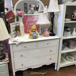 Girls White Dresser with Mirror