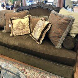 Leather Framed Sofa with Nailhead Trim