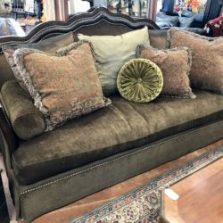 Sofa with Leather and Nailhead Trim