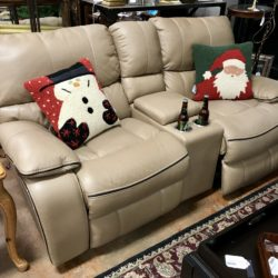 Faux Leather Power Reclining Love Seat