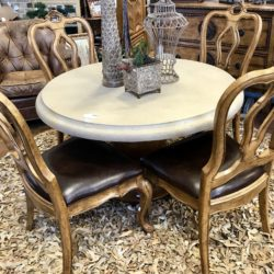 Stone Top Dining Table with 4 Leather Chairs (sold separately)