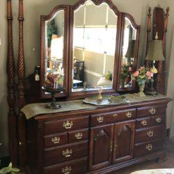Cherry Low Boy Dresser with 3 Panel Mirror