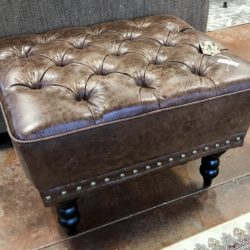 Pier 1 Tufted Leather Ottoman