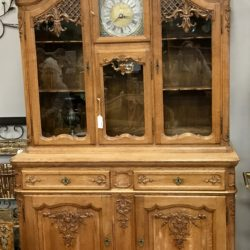 Vintage Oak French China Hutch with Clock