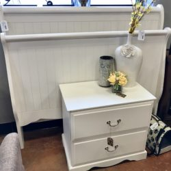 White Full Sleigh Bed and Nightstand