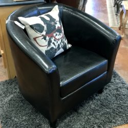 Black Faux Leather Modern Accent Chair