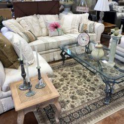 Cream Sofa with 2 Matching Slipper Chairs