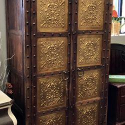 Vintage Cabinet with Embossed Copper Insets