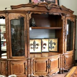 Stunning Ornate Carved Wood Lighted Media / Display Cabinet