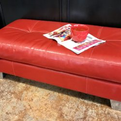 Italian Leather Red Ottoman
