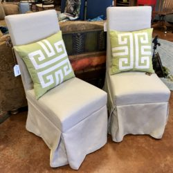 2 Slipcovered Dining Chairs
