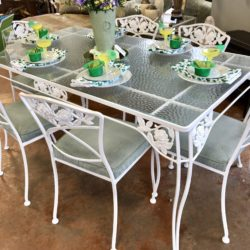 Vintage 1960s Restored Wrought Iron Table with 4 Chairs