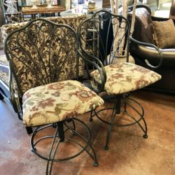 Wrought Iron Swivel Counter Stools (4 Available)
