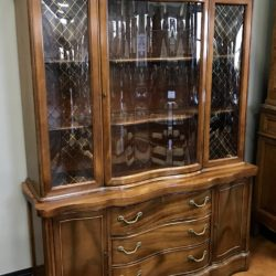 Vintage Curved Glass China Cabinet