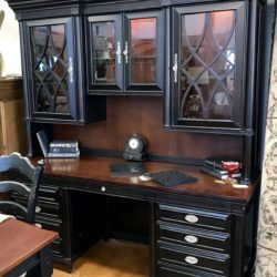 Aspen Home Black Desk with Lighted Hutch