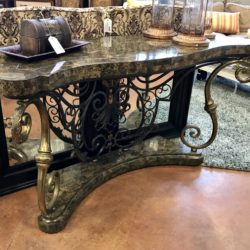Ornate Carved Wood & Iron Entry Table