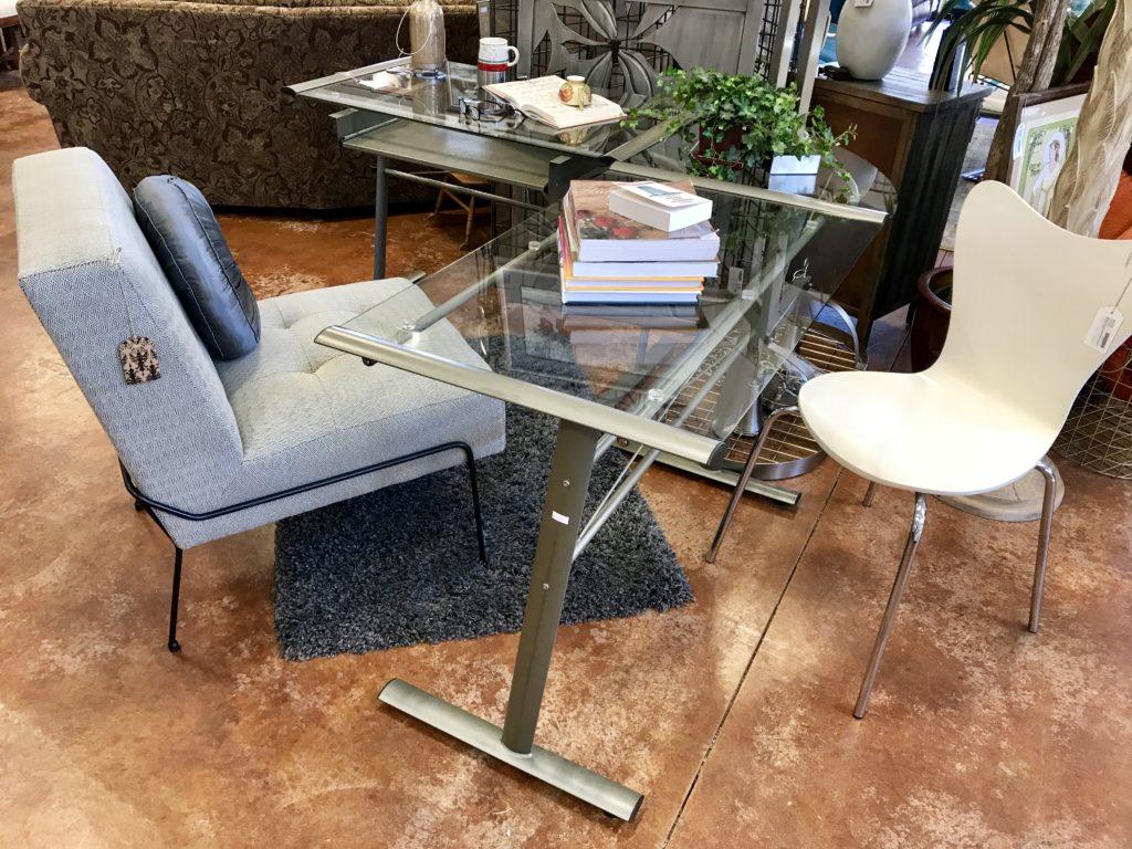 Modern Glass L-Shaped Desk