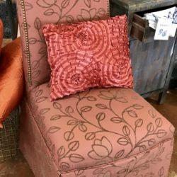 Orange Leaf Parsons Chair with Nailhead Trim