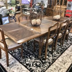Antique 1800s French Dining Table with 8 Chairs & Leaves