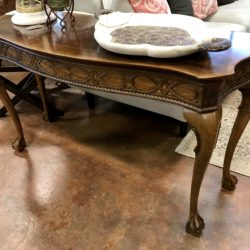 Wood Parquet Sofa Table with Claw Feet