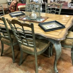 French Country Green Dining Table & 6 Chairs