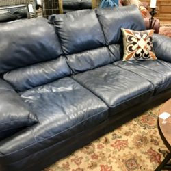 Navy Blue Leather Sofa