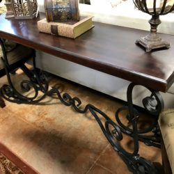 Pier 1 Rustic Sofa Table with Iron Scroll Legs