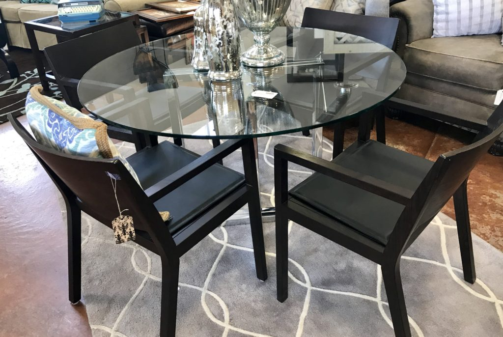 Modern Glass Dining Table with Chrome Base & Wood Chairs (priced separately)