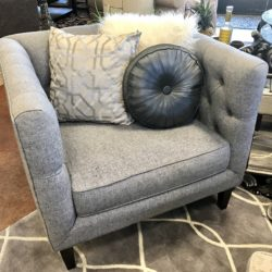 Down East Gray Tufted Accent Chair