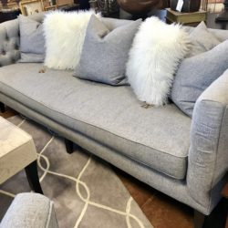 Down East Gray Tufted Sofa with 3 Pillows