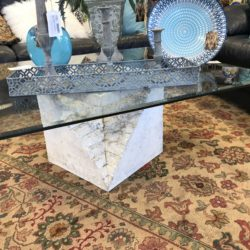 Modern Stone & Glass Coffee Table (2 Matching Side Tables Available)