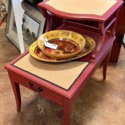 Vintage Red Side Table Cork Top