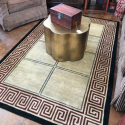 Wool Asian Inspired Rug with Gold Floral Accent Table