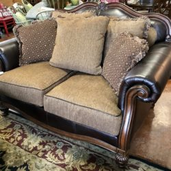 Leather & Upholstered Love Seat with Pillows