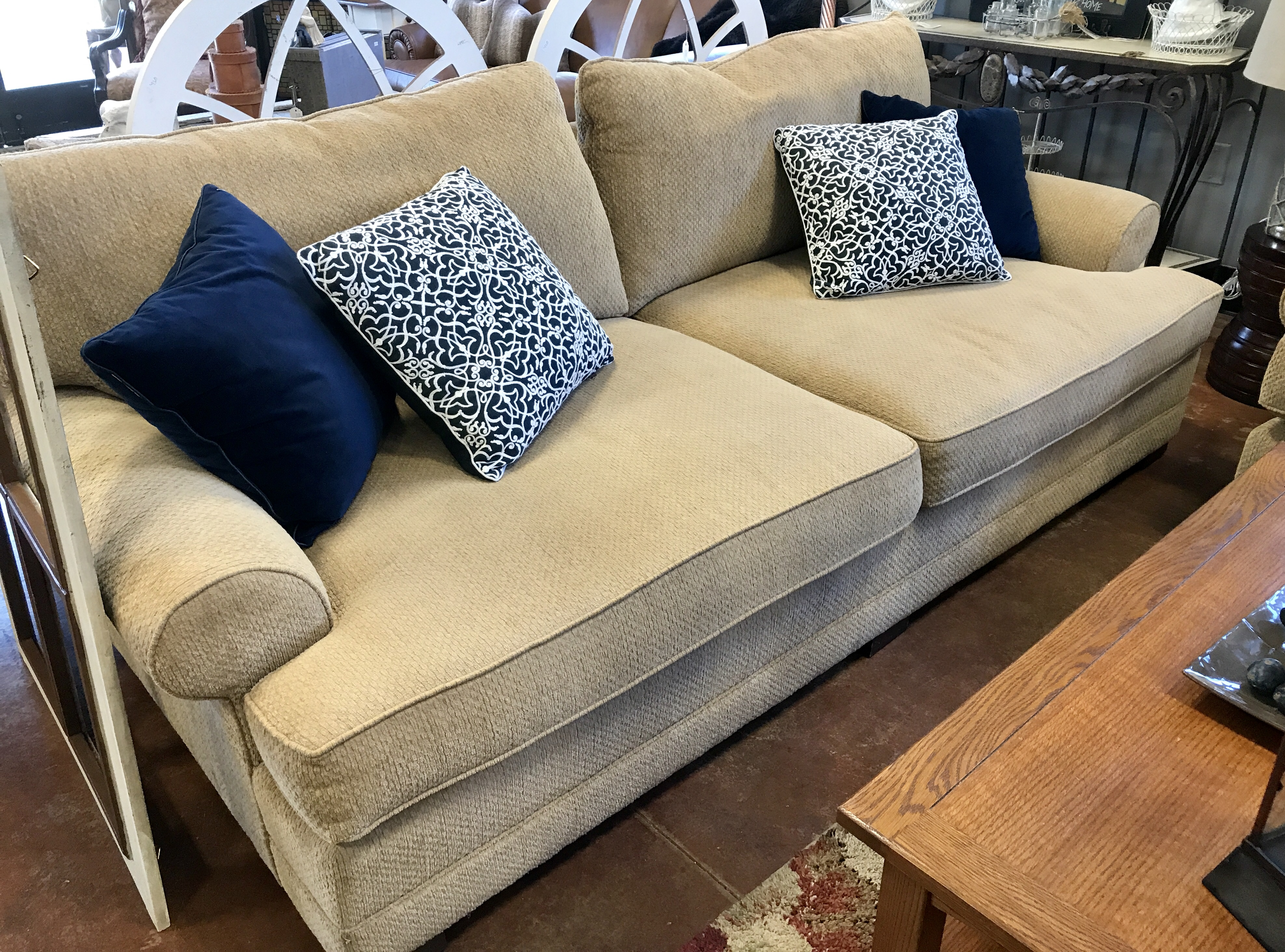 Old Hickory Down Filled Gold Sofa