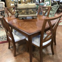 Dining Table with Leaf and 4 Upholstered Chairs