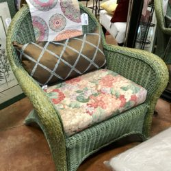 Green Wicker Chair with Cushion