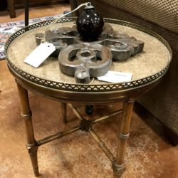 Vintage Round Metal Table with Glass Inset