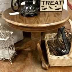 Round Vintage Oak Side Table