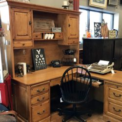 Oak Desk with Hutch and Return